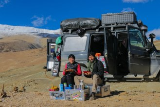 Frühstück am Tso Moriri (ca. 4.700 m)