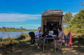 Frühstück am Mekong